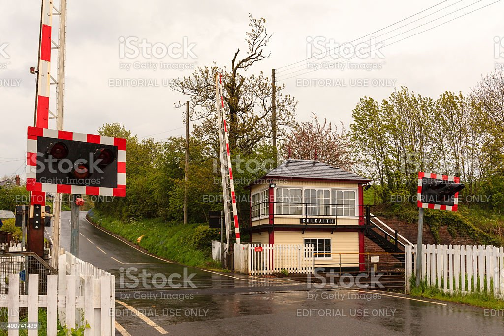 Culgaith Signal Box and Level Crossing stock photo