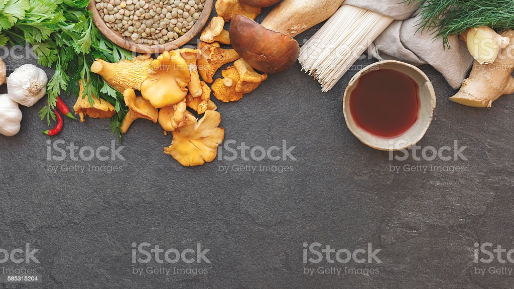 Culinary background with various ingredients stock photo