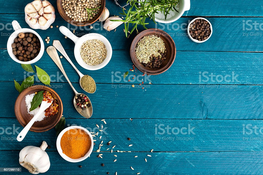 culinary background with various spices stock photo