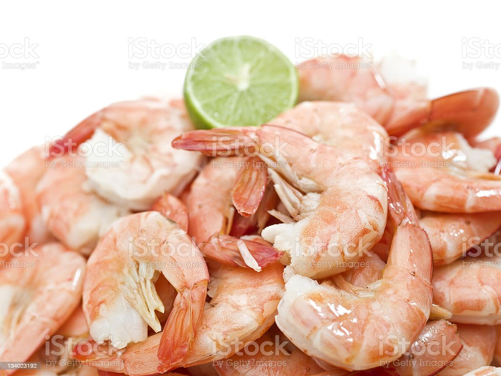 Culinary image of fresh shrimp with lime stock photo