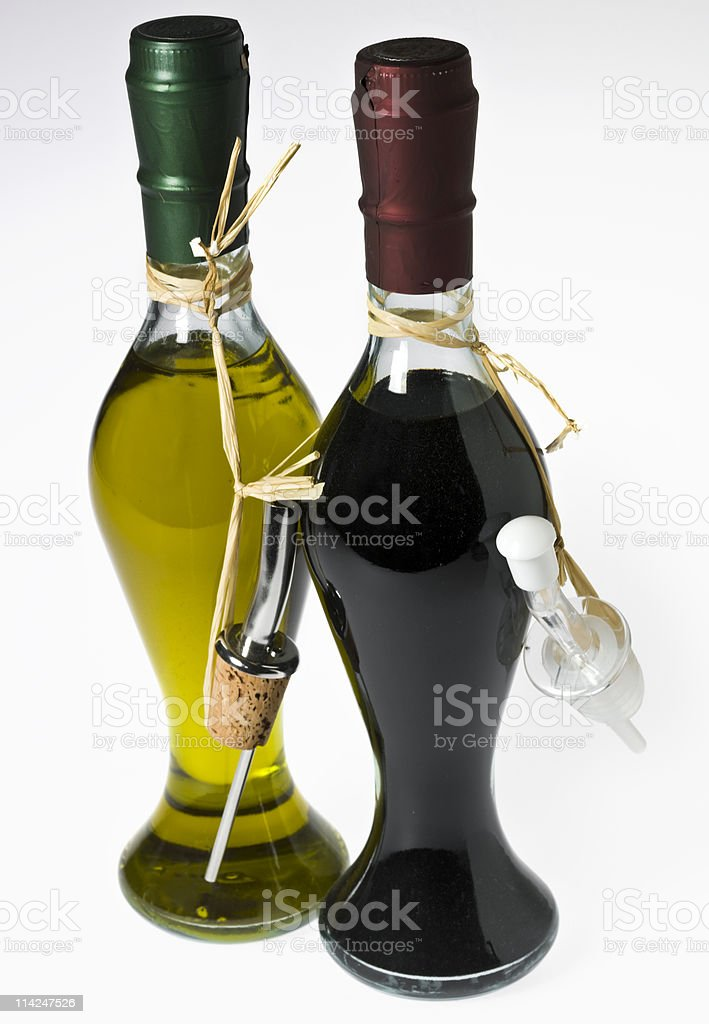 Culinary photograph of olive oil and balsamic vinegar stock photo
