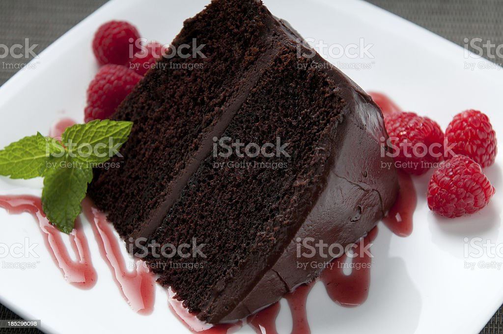 Culinary presentation of a wedge of chocolate cake  stock photo