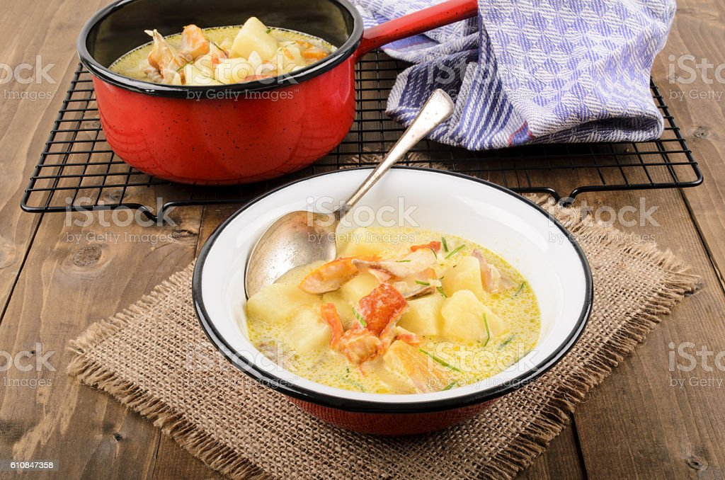 cullen skink, typical scottish food with smoked haddock stock photo
