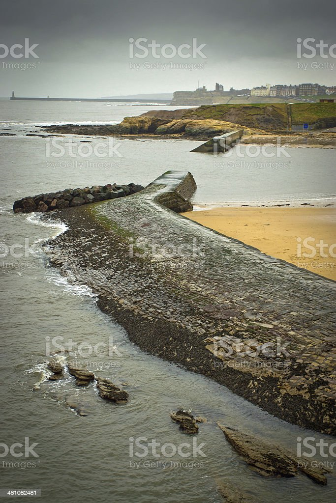 Cullercoats harbour and piers stock photo