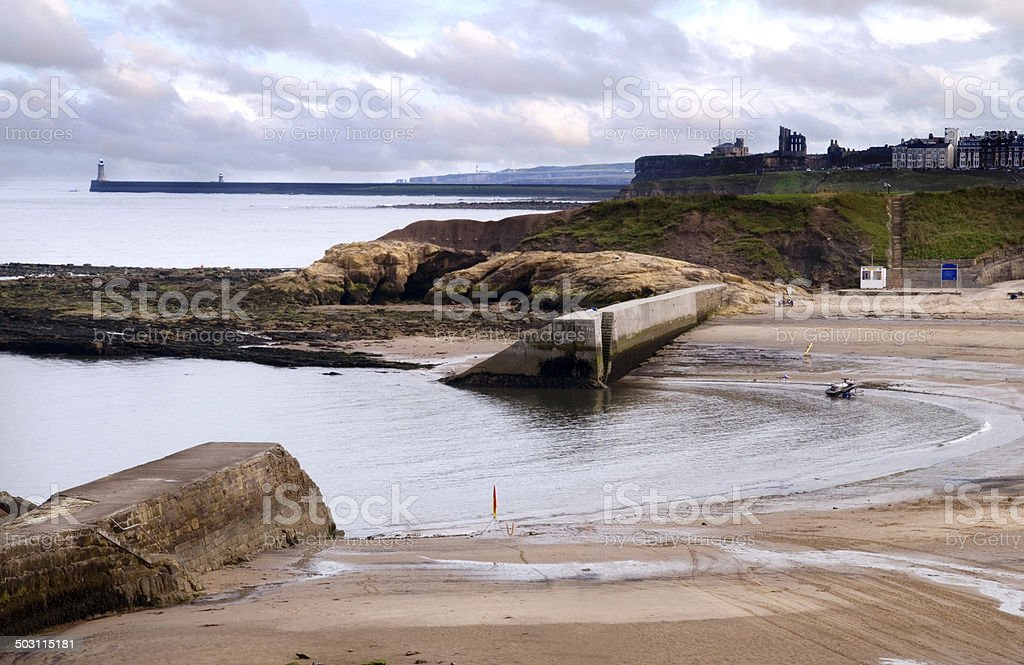 Cullercoats Harbour, in Northumberland, stock photo