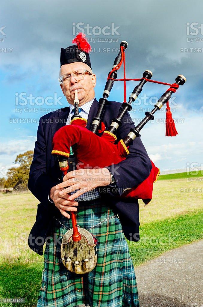 Culloden battlefield piper Scotland stock photo