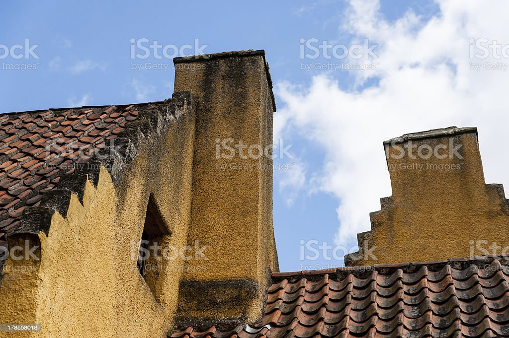 Culross Palace, crow-stepped gables. royalty-free stock photo