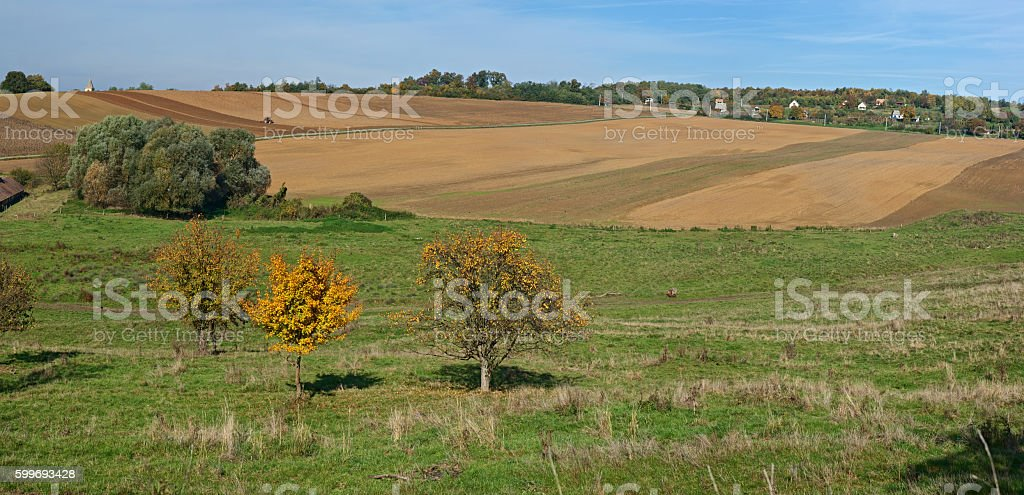 Cultivated field nearby a village stock photo