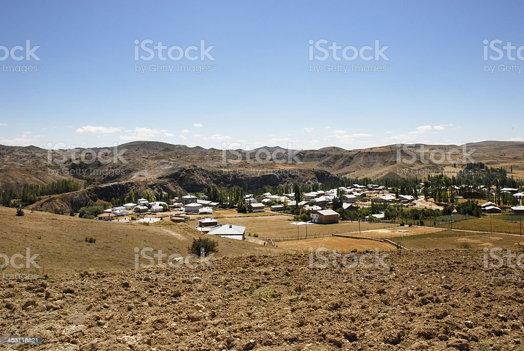 Cultivated Land and Village (Click for more) royalty-free stock photo