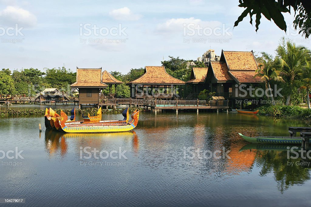 Cultivated tropical park and lake. Cambodia. stock photo