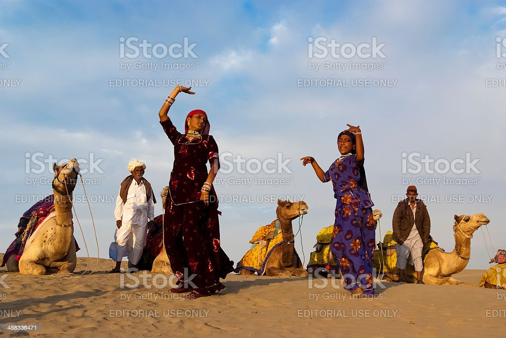 Cultural dance at Sam Sand Dune in Jaisalmer stock photo