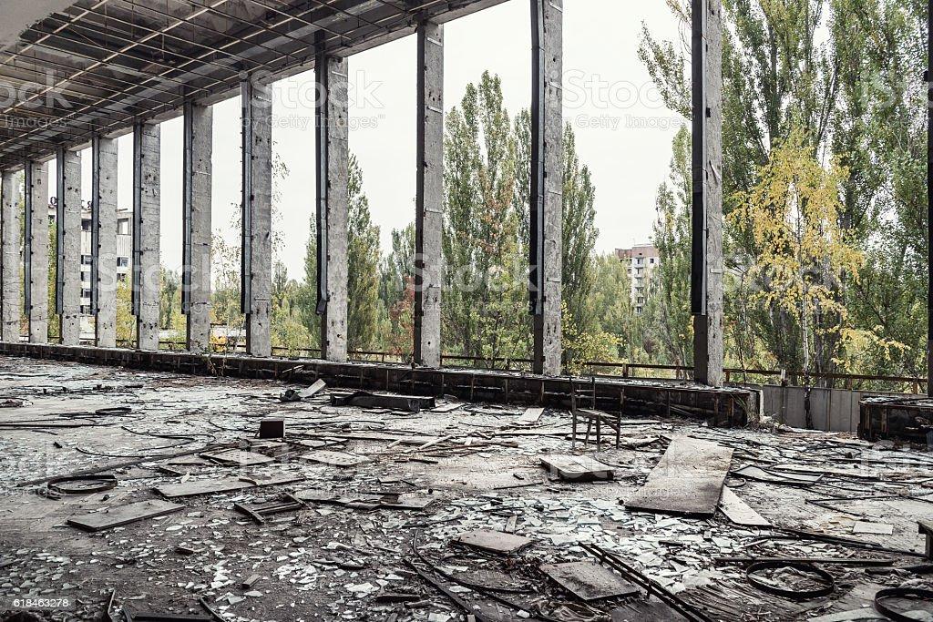 Cultural palace hall,Chernobyl. stock photo