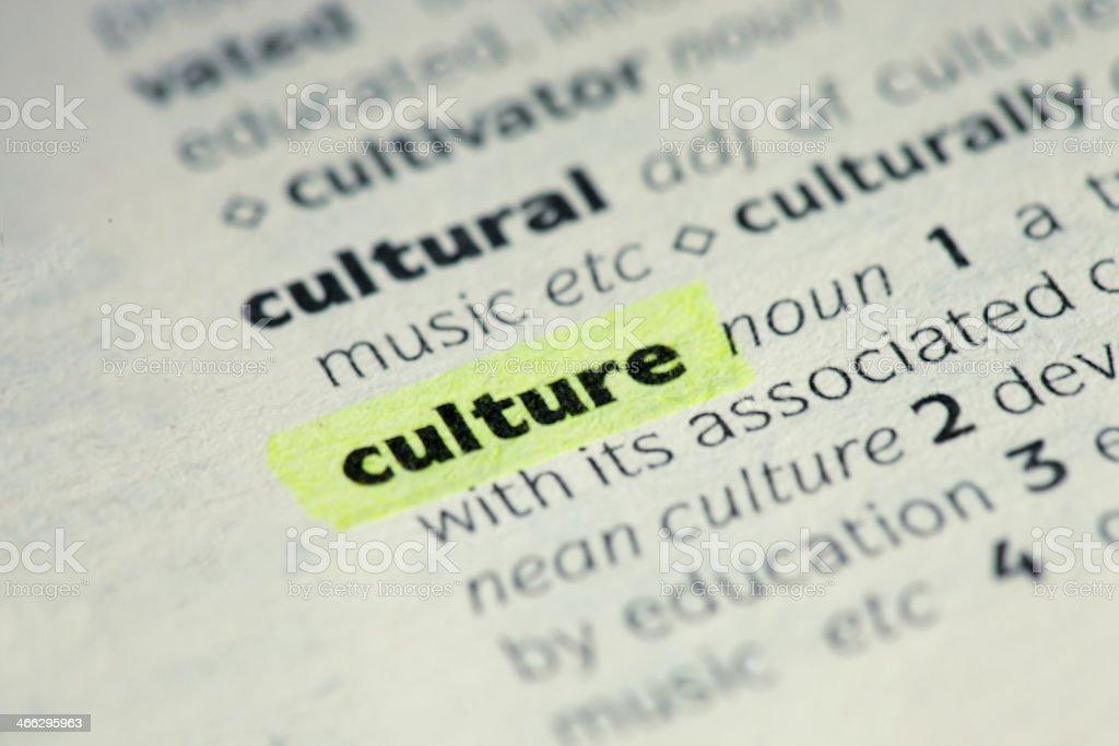 Culture definition stock photo