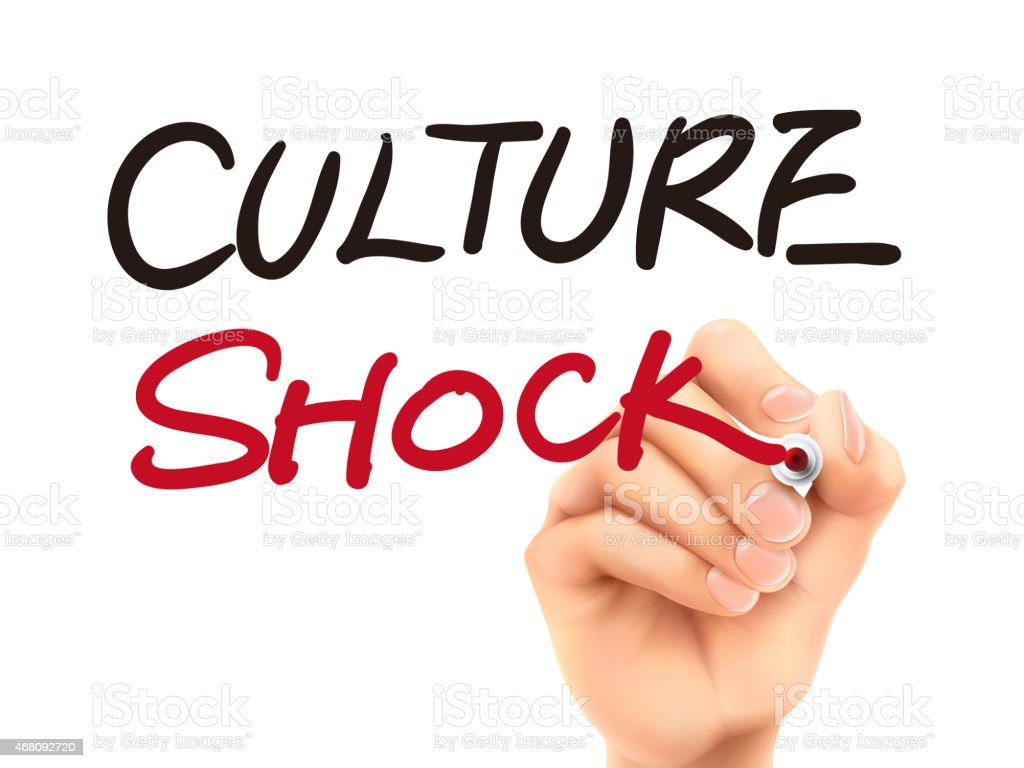 Culture shock written in red and black by hand stock photo