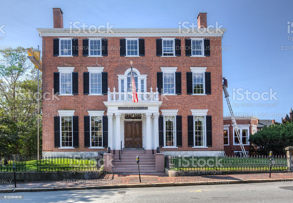 Cumberland Club, Portland, Maine, New England, USA. stock photo