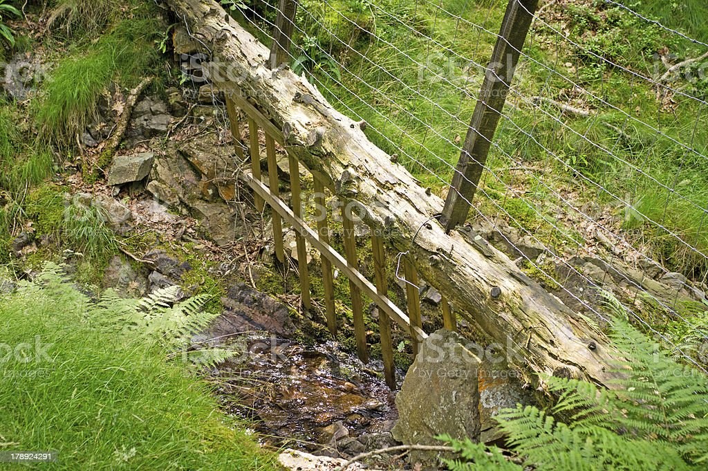Cumbrian fence over stream royalty-free stock photo
