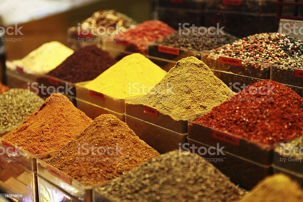 Cumin Pepper Turkish Spices at Misir Carsisi stock photo