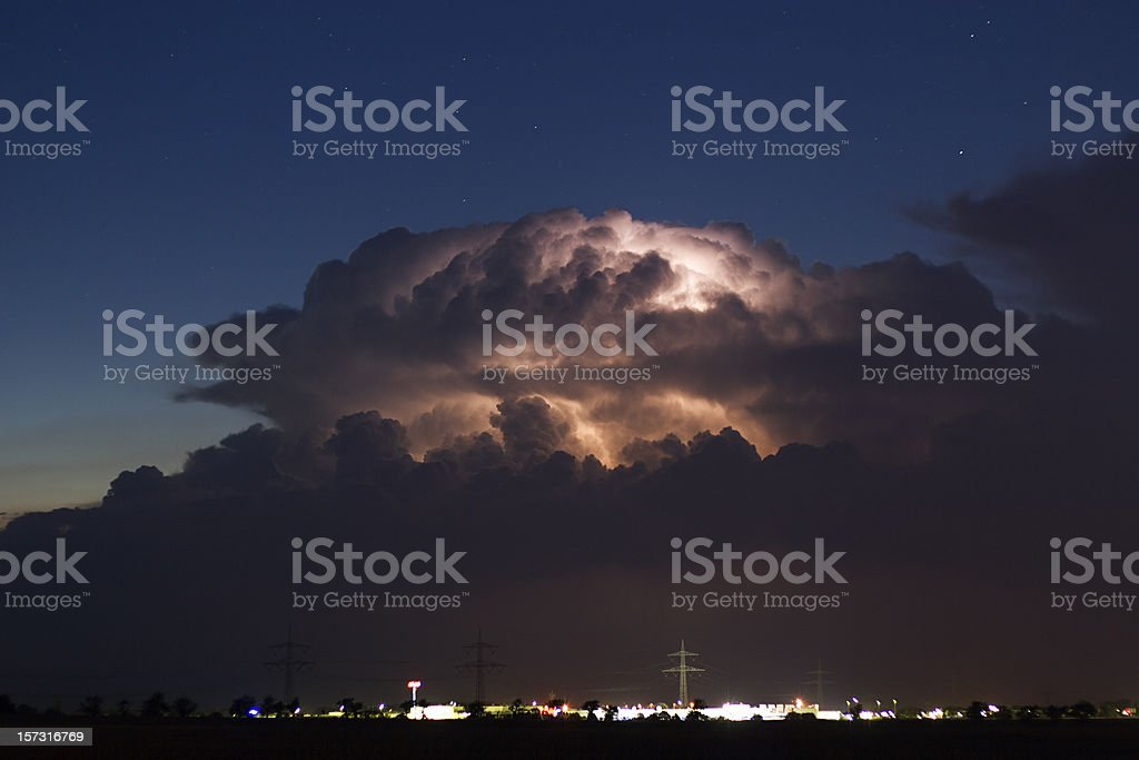 Cumulonimbus at night stock photo