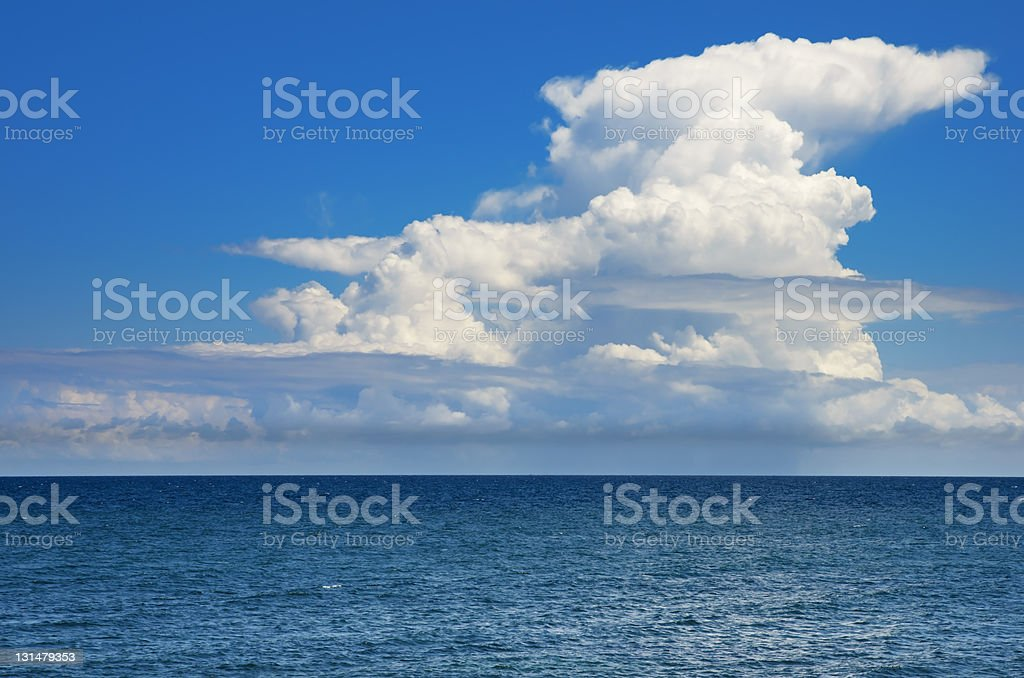 Cumulonimbus, sky and sea stock photo