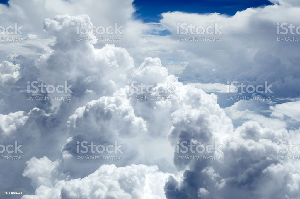 Cumulus Clouds, full frame, weather background. stock photo