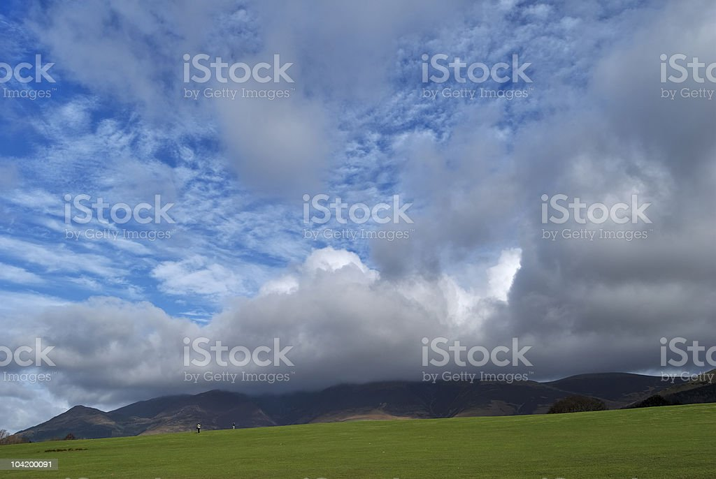 Cumulus clouds over Skiddaw stock photo