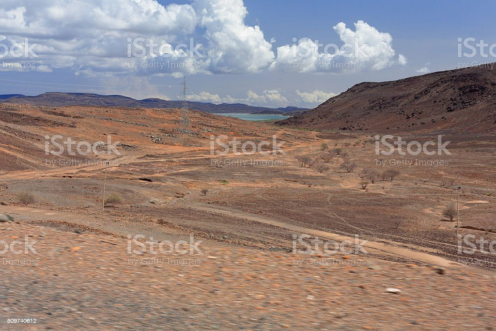 Cumulus clouds over the Awash river valley. Afar region-Ethiopia. 0125 stock photo