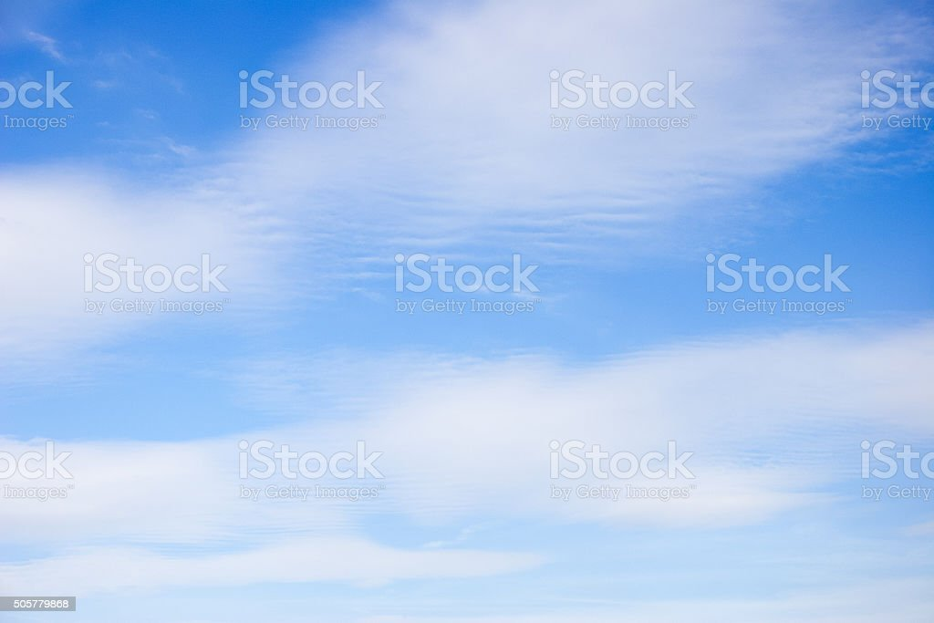 Cumulus humilis clouds in an August sky stock photo