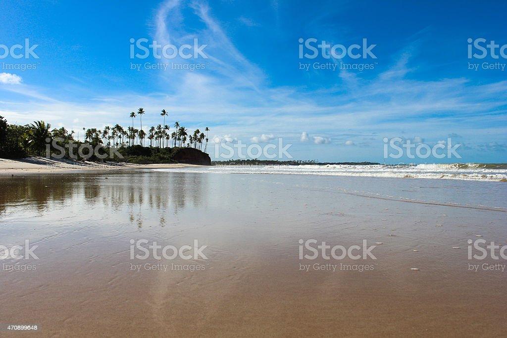 Cumuruxatiba beach in Prado city, Bahia, Brazil stock photo