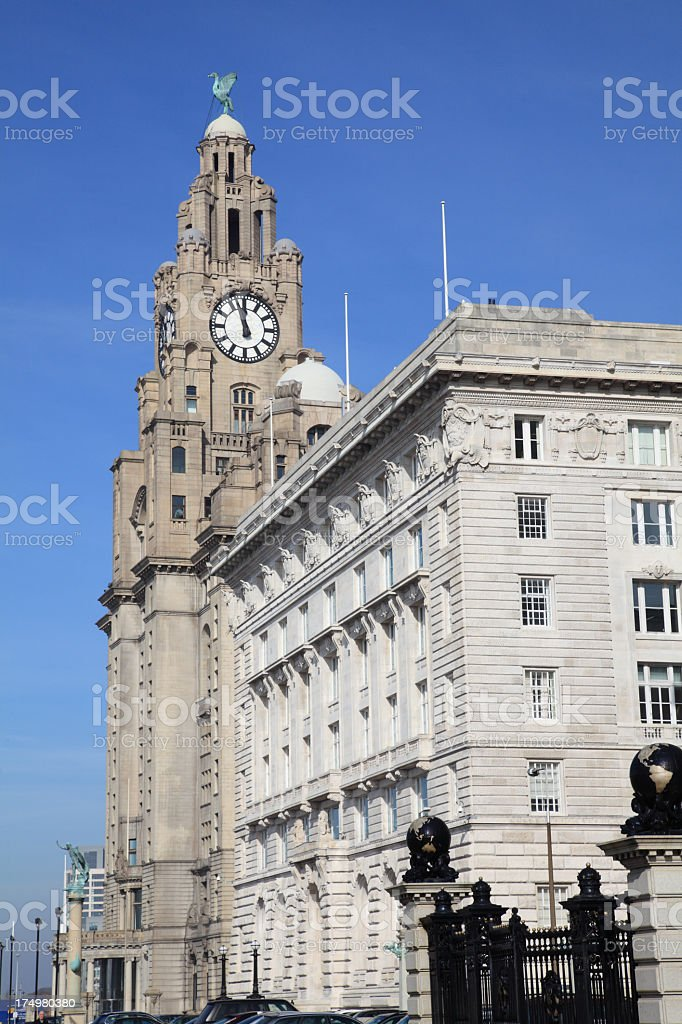 Cunard and Liver Buildings stock photo