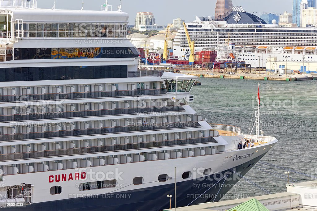 Cunard's Queen Elizabeth Luxury Liner in Fort Lauderdale, Florid royalty-free stock photo