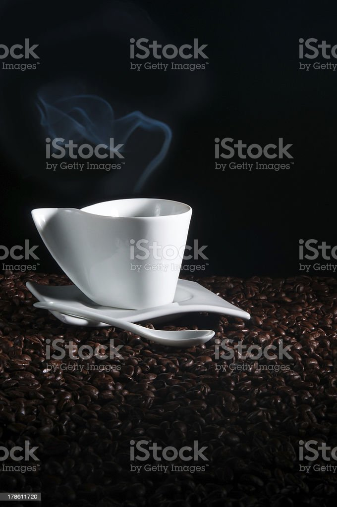 Cup and Beans of Coffee royalty-free stock photo