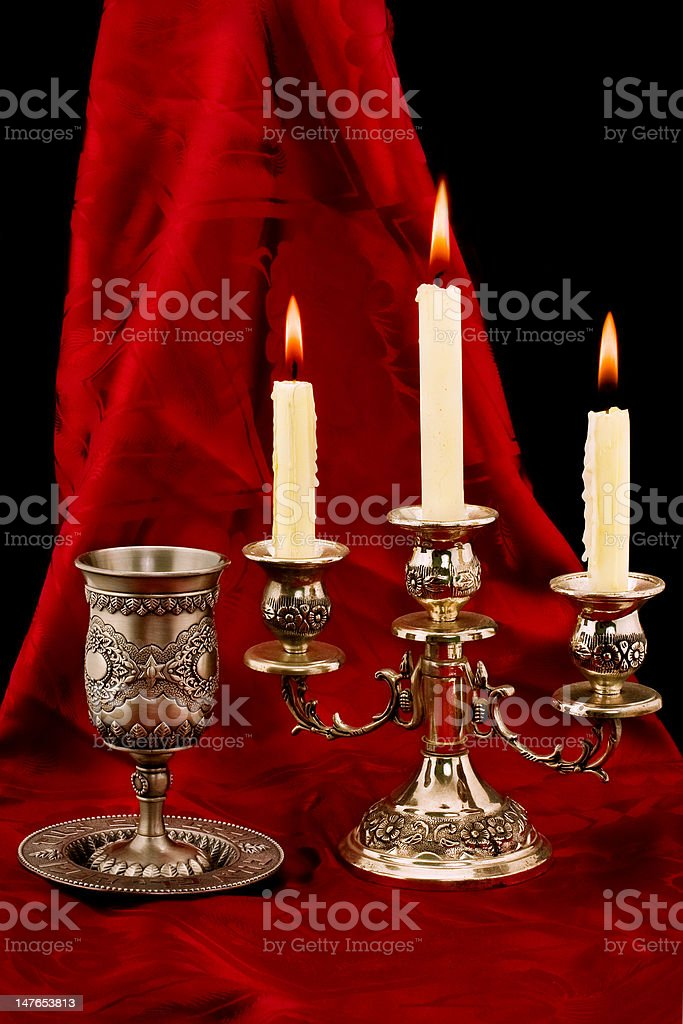 cup and candles royalty-free stock photo