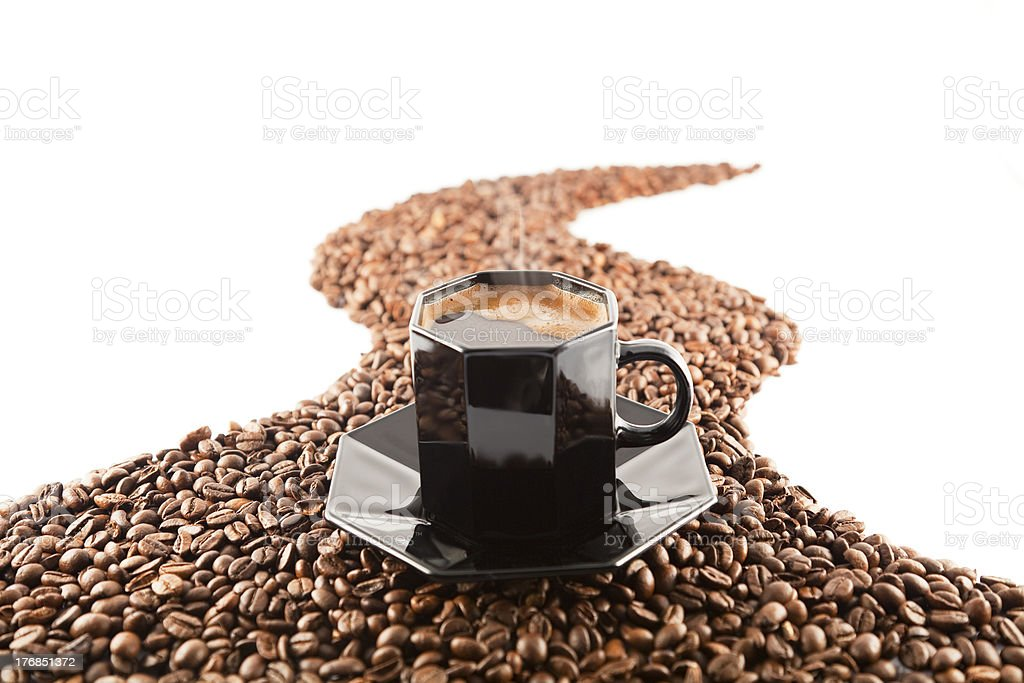 cup and coffee beans royalty-free stock photo
