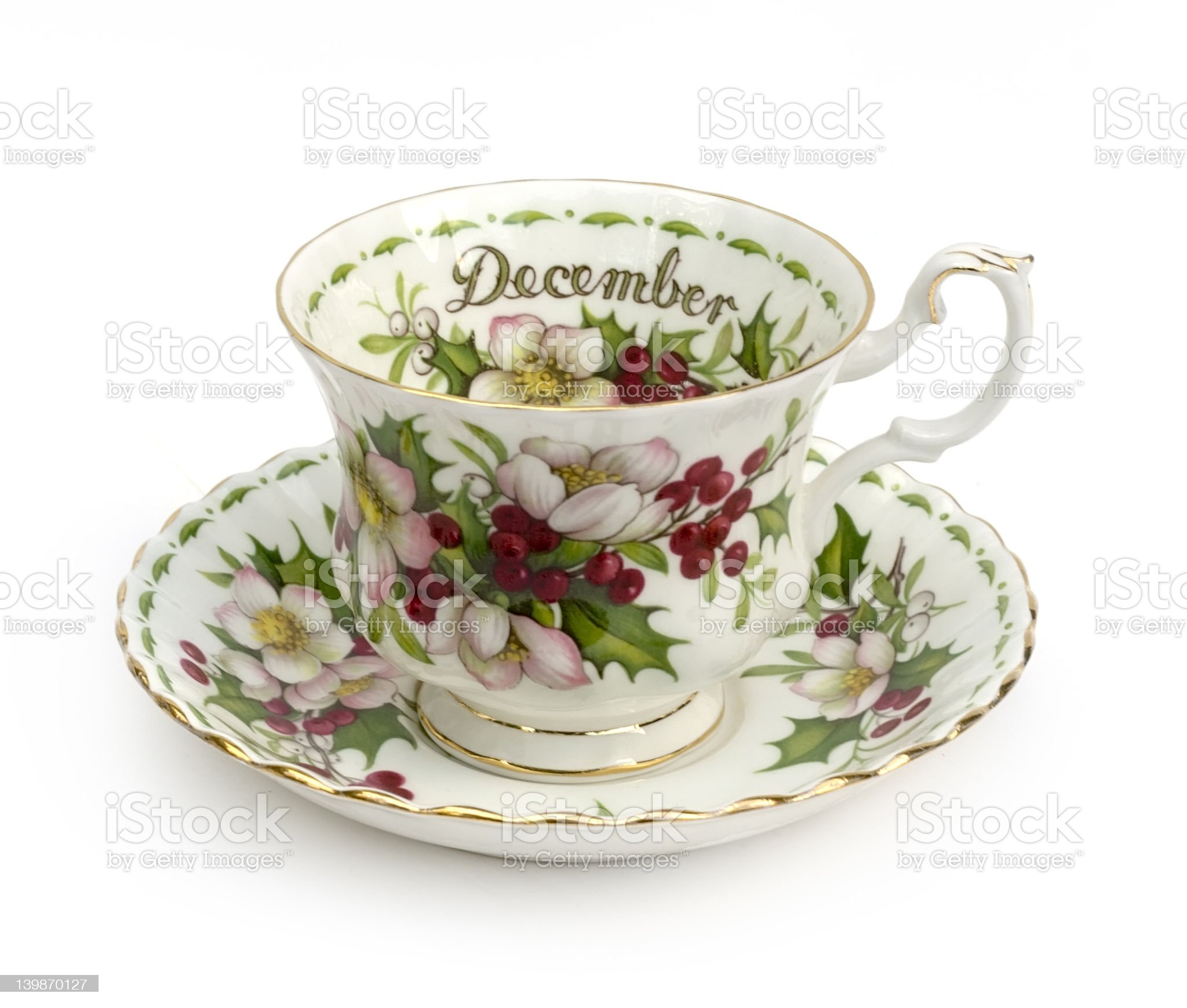 Cup and Saucer - Month of December royalty-free stock photo