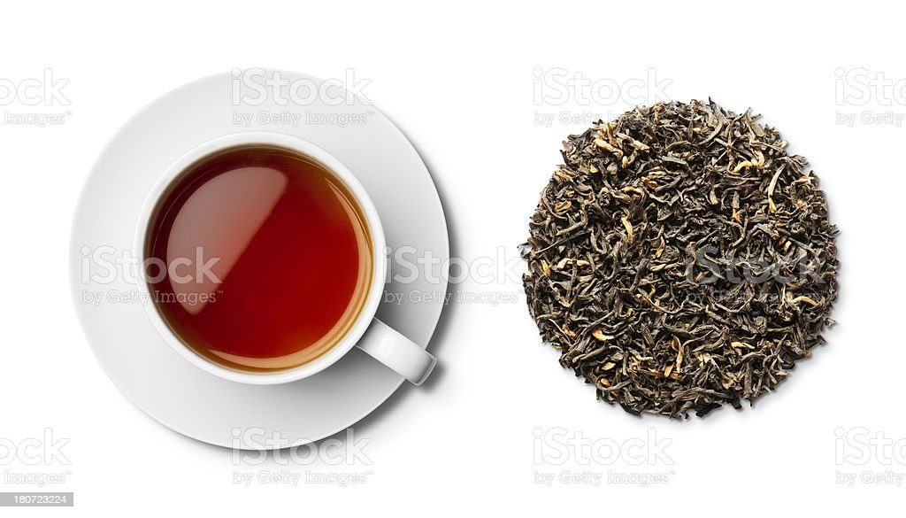 Assam Tea and Leaves stock photo