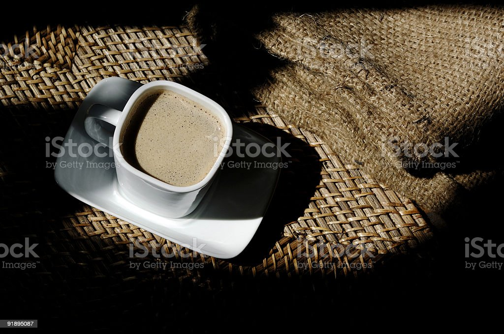 cup and saucer of black coffee royalty-free stock photo