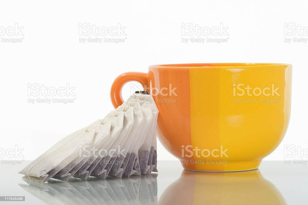 cup and tea bags royalty-free stock photo