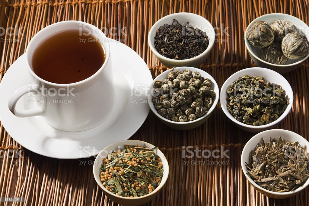 Cup and Tea Leaves of Japanese, Chinese, and Indian Varieties royalty-free stock photo
