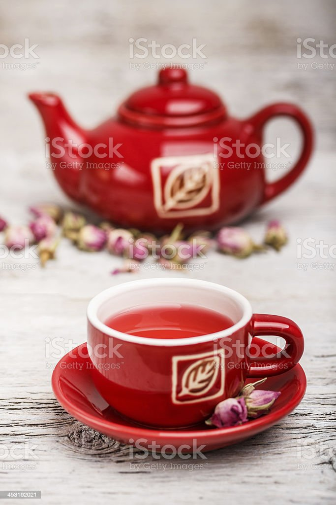 Cup and teapot stock photo