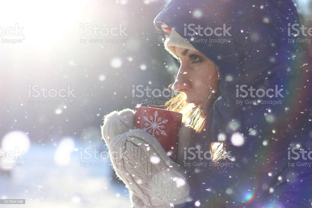 cup Christmas winter girl stock photo