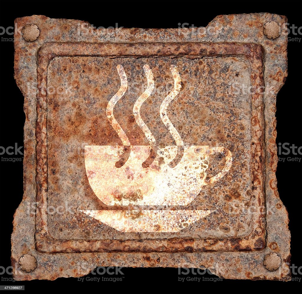 cup coffee icon old metal, isolated on black background royalty-free stock photo