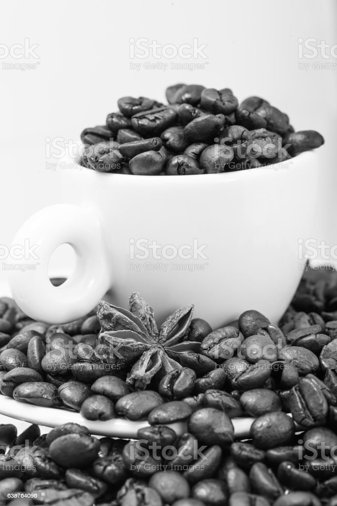 Cup for espresso with a grains coffee. stock photo