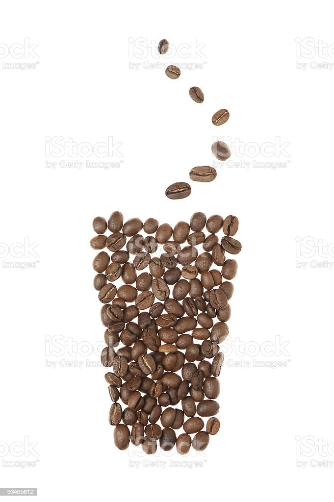 Cup from grains of coffee royalty-free stock photo