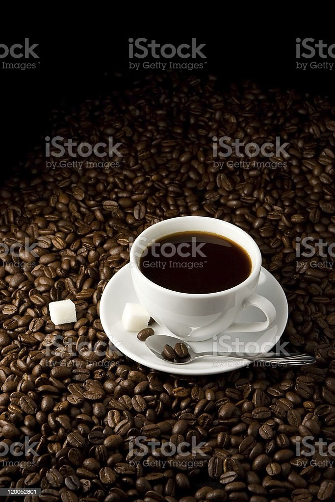 cup full on coffee beans royalty-free stock photo