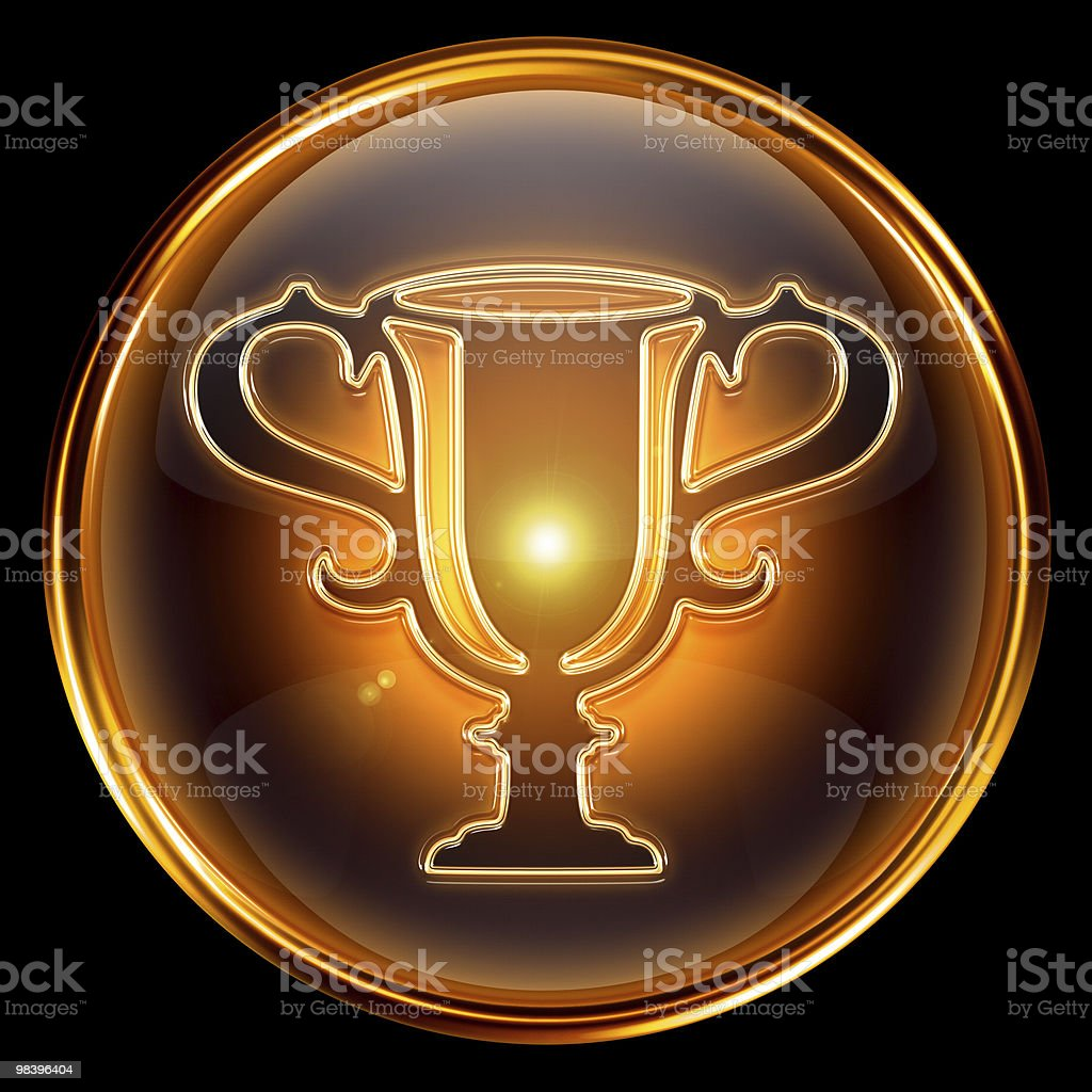 Cup icon golden, isolated on black background. royalty-free stock photo