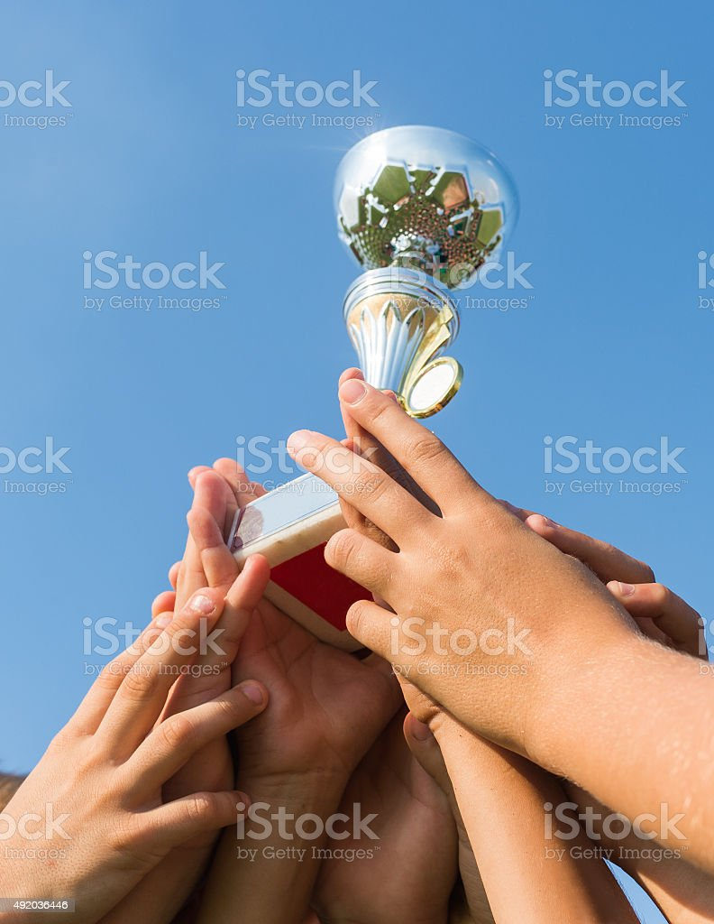 cup in soccer kids stock photo