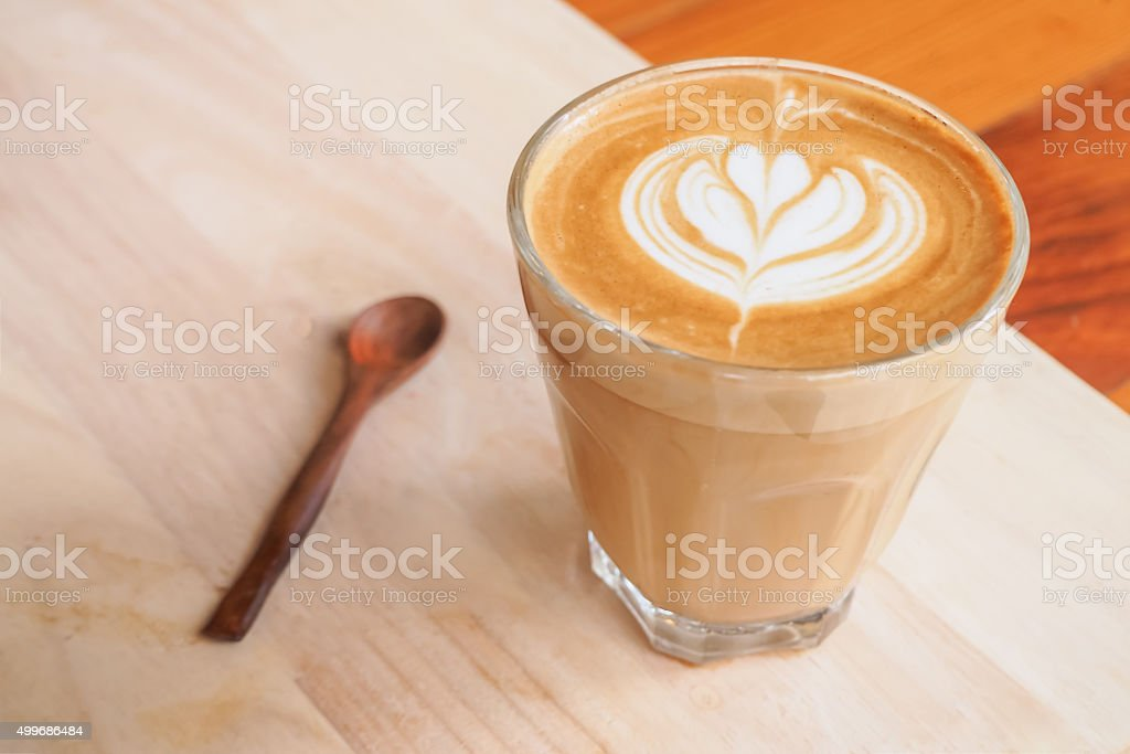 Cup of art latte on a cappuccino coffee Selective Focus stock photo