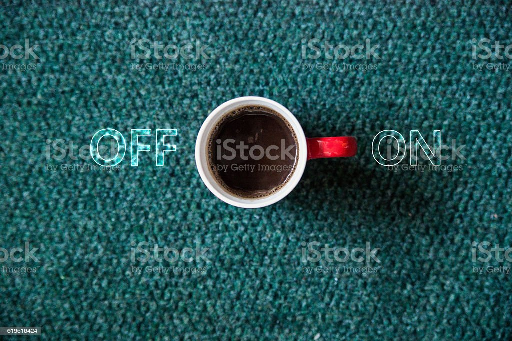cup of black coffe,  Coffee on - off switch stock photo