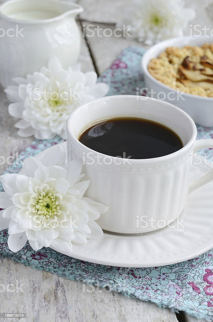 Cup of black coffee and apple tart royalty-free stock photo