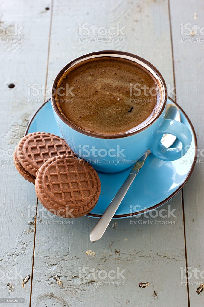 Cup of black coffee and chocolate biscuits royalty-free stock photo